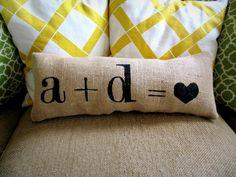 personalize your own love pillow : Sweet Burlap Decorative Accent Pillow.