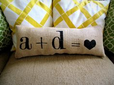 personalize your own love pillow : Sweet Burlap Decorative Accent Pillow.