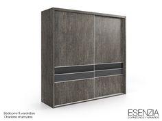 ESENZIA - Armario 2 puertas correderas. Combinado color gris con detalles en color negro y antracita.