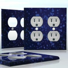 DIY Do It Yourself Home Decor - Easy to apply wall plate wraps | Bubbling Space  Dark blue pattern with bubbles  wallplate skin sticker for 2 Gang Wall Socket Duplex Receptacle | On SALE now only $4.95