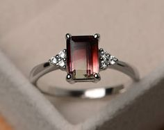 Natural watermelon tourmaline, unique ring, emerald cut engagement ring, engagement ring, promise ring