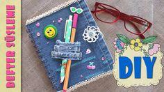 Back to School Jean Crafts, Denim Crafts, Diy And Crafts, Crafts For Kids, Arts And Crafts, Bible Covers, Crochet Fabric, Original Gifts, Handmade Books