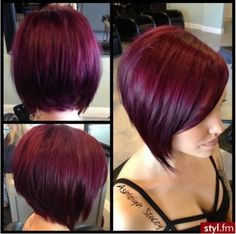 Im gonna hafta do the deep red-burgandy hair color with my next femshep in Red Burgandy Hair Color, Short Burgundy Hair, Plum Hair, Burgundy Bob, Purple Hair, Red Purple, Red Bob Haircut, Top Hairstyles, Love Hair