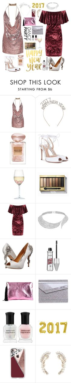 """""""Let the dance party begin!"""" by salvanadaaz ❤ liked on Polyvore featuring Giorgio Armani, Gianvito Rossi, RabLabs, Max Factor, WearAll, Messika, Badgley Mischka, Lisa Bea, Jimmy Choo and Deborah Lippmann"""