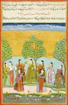 "Unidentified ragini. ""A leaf with two Ragamala illustrations: Malasri Ragini and Maru Ragini, India, Deccan, Hyderabad, circa 1760"""