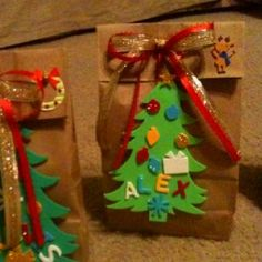 Made these treat bags for my son's Christmas party at school. Put inside some craft items like chenille stems, beads, stickers, etc. and a few pieces of candy. The kids (and teacher) loved them!