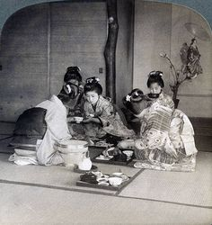 Geishas at dinner Tokyo Japan 1904 Stereoscopic card Detail