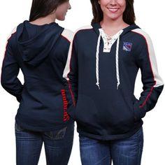 Reebok New York Rangers Ladies Lace-Up Pullover Hoodie - Navy Blue