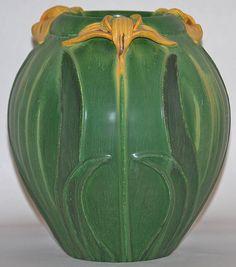 Ephraim Faience Pottery Japanese Iris Vase