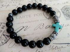 Jet Black Beaded Stretch Bracelet with Turquoise by tuscanroad