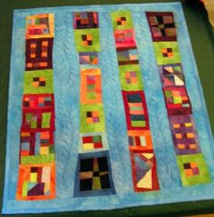 """Late last summer, I was at a loss for which quilt project to do next. I decided to do some free piecing of my scraps and crumbs of hand-dyed fabric left from previous quilts. The result is """"Crumb Cake. Elephant Quilts Pattern, Quilt Patterns, Scrappy Quilts, Baby Quilts, Quilting Projects, Quilting Designs, Crumb Quilt, Beginning Quilting, Quilt Modernen"""