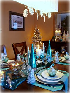 Dining Delight: Christmas in Teal Blue