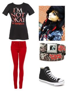 My Chemical Romance emo outfit by amberpend on Polyvore featuring polyvore, fashion, style, Paige Denim and Converse