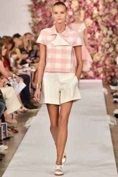 Designer - Oscar de la Renta Gingham; pale pink and white shirt