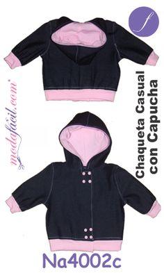 Descarga gratis los Moldes de Chaqueta Casual con Capucha para bebes