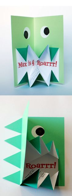 Many kids seem to go through a dinosaur phase, and often they request a dinosaur birthday cake or party theme. They'll love these pop-up origami dino invitations, and so will you because they are. Diy Origami, Origami Design, Dinosaur Invitations, Diy Invitations, Invitation Cards, Dinosaur Cards, Dinosaur Birthday Party, Monster Party, Kids Cards
