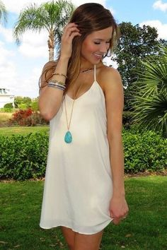 Simple cute summer dress and I'm loving that necklace!!!