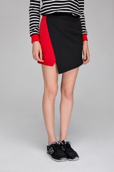 Wrap skirt in colour block - FrontRowShop