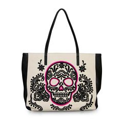 Purple Leopard Boutique - Loungefly Purse Black and Pink Canvas Sugar Skull Tote School Bag, $80.00 (http://www.purpleleopardboutique.com/loungefly-purse-black-and-pink-canvas-sugar-skull-tote-school-bag/)