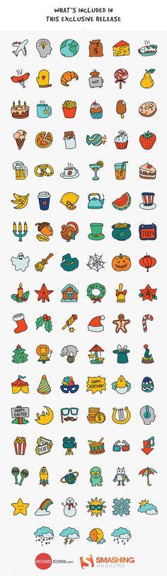 Many hand-drawn illustrations: candy, teapot, cake, turkey, circus, mask, harp, doughnut, strawberry