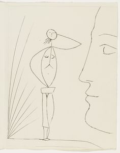 """Pablo Picasso. Profile and Female Nude (plate, page 5) from the illustrated book Six Contes Fantastiques. 1944-1953. Engraving. composition (irreg.): 12 13/16 x 9 13/16"""" (32.5 x 24.9 cm); page: 13 3/16 x 10 1/16"""" (33.5 x 25.5 cm). The Louis E. Stern Collection. 1002.1964.A1. © 2017 Estate of Pablo Picasso / Artists Rights Society (ARS), New York. Drawings and Prints"""