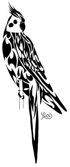 Tribal Cockatiel by Hexephra.deviantart.com on @deviantART