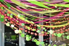 Decor idea: Streamers and polka dot garland... exactly what I had in mind.