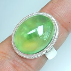 8.07 Gm 925 Sterling silver Natural Top Prehnite Rings 6.75 US Lovely Jewelry $