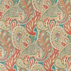 Orange, Teal, And Green Paisley Contemporary Upholstery Fabric By The Yard