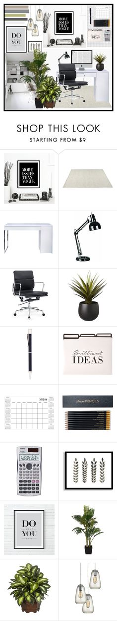 """Modern office"" by angel-from-heaven ❤ liked on Polyvore featuring interior, interiors, interior design, home, home decor, interior decorating, WALL, CO, TemaHome and Lite Source"