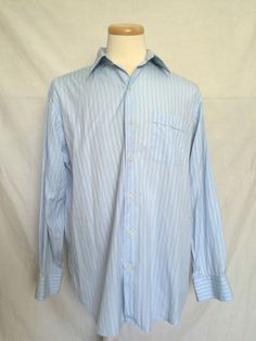 Tommy Bahama Size 16 1/2 34-35 Blue Striped Long Sleeves Mens Dress Shirt  | eBay