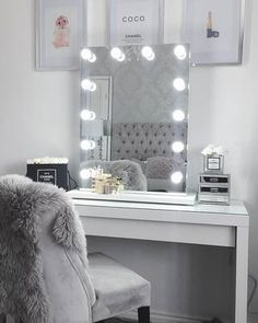 Add a bit of glamour to your vanity station with this stunning Beautify 12 light White Hollywood Mirror. Ideal for bedrooms, dressing rooms and salons! Teen Bedroom Designs, Bedroom Decor For Teen Girls, Teen Room Decor, Room Ideas Bedroom, Rooms For Teenage Girl, Bedroom Table, Dressing Room Mirror, Dressing Room Decor, Dressing Room Design