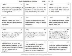 72 addition word problems • 72 subtraction word problems • 24 multi-step addition and subtraction problems • One digit to five digits • Three levels of difficulty for differentiation • Answer keys • A problem solving process checklist • Suggestions and examples to use Aligned with Common Core Standards: 2.OA.A.1 3.OA.D.8 4.OA.A.3 $ #WordProblems
