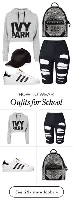 """Back To School Outfit #5"" by yourlovewillneverlast on Polyvore featuring Topshop, adidas, MCM and River Island"
