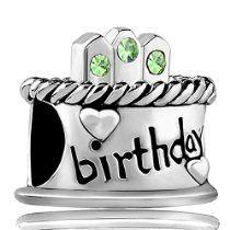 Gifts Birthday Cake Charms August Peridot Birthstone Candles Happy Birthday Jewelry Beads Fit Pandora Charm Bracelets
