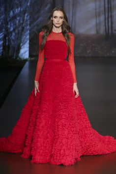 Ralph & Russo F/W 15/16: The perfect gown for Valentine's Day or Christmas! I love the color, sheer sleeves, and texture!
