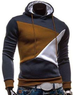 Irregular Color Lump Spliced Rib Hem Slimming Hooded Long Sleeves Casual Hoodie For Men