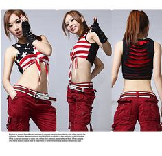 Rakuten: HIPHOP dance costume cosplay print stripe HIPHOP stage ...