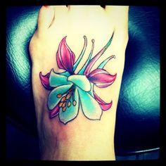 columbine tattoo - black lotus tattooers; Gilbert, Arizona Mom Tattoos, Future Tattoos, I Tattoo, Tatoos, Columbine Tattoo, Columbine Flower, Arizona Flower, Colorado Tattoo, Different Tattoos