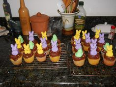 Made these for my husbands familys easter dessert! Marshmellow filled cupcakes with chocolate marshmellow frosting and peeps on top!