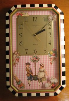 Hand painted and decoupage using Dover clipart. The one photo shows that I used some clipart on the back of the front glass and other ones on the clock in side.    Made by:  Bonnie Fulton