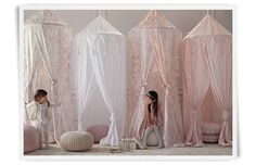 Girls playroom idea...love the canopies Leftover tulle and a hula hoop!