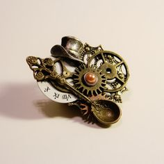 Mad Hatter's Victorian Steampunk Pin Brooch by theantiquehare on Etsy