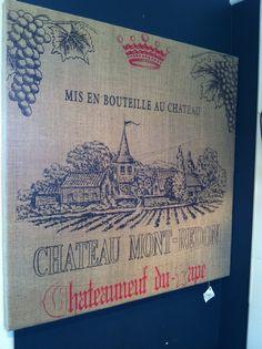 French winery burlap artwork!