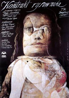 """The Draughtsman's Contract"" Polish poster by Wiktor Sadowski (Peter Greenaway 1982)"