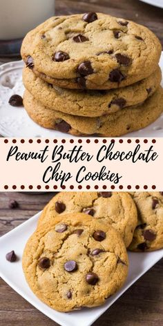 peanut butter cookies These giant peanut butter chocolate chip cookies are soft and chewy with slightly crispy edges and filled with chocolate chips. An easy recipe for the best peanut butter cookies around! Cookie Recipes From Scratch, Healthy Cookie Recipes, Oatmeal Cookie Recipes, Chocolate Cookie Recipes, Healthy Food, Easy Recipes For Desserts, Meal Recipes, Recipes Dinner, Delicious Recipes