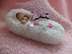 Miniature polymer clay reborn style sleeping bundle baby byTeeny Tiny Babes.