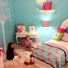 Tiffany Blue Aqua And Pink Girls Bedroom Design, Pictures, Remodel, Decor and Ideas. Love the white tree mural with pink flowers on the wall.