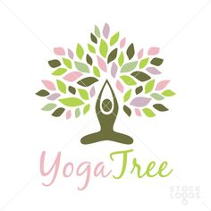 yoga lotus tree logo. A human figure, man or woman, sits in the lotus position, arms extended and joined over head. A flourish of leaves sprouts all around, giving the over all appearance as a beautiful healthy tree.