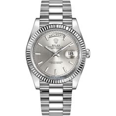 Rolex Day-Date 40mm White Gold 228239 Silver Stripe Index Watch (136.405 RON) ❤ liked on Polyvore featuring men's fashion, men's jewelry, men's watches, mens white gold watches, rolex mens watches and mens silver watches